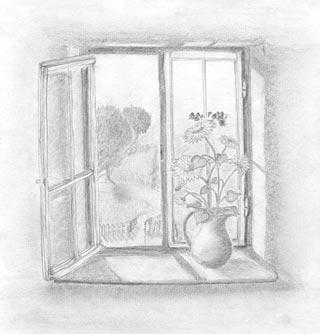 Fenster bleistiftzeichnung  Kunstgalerie